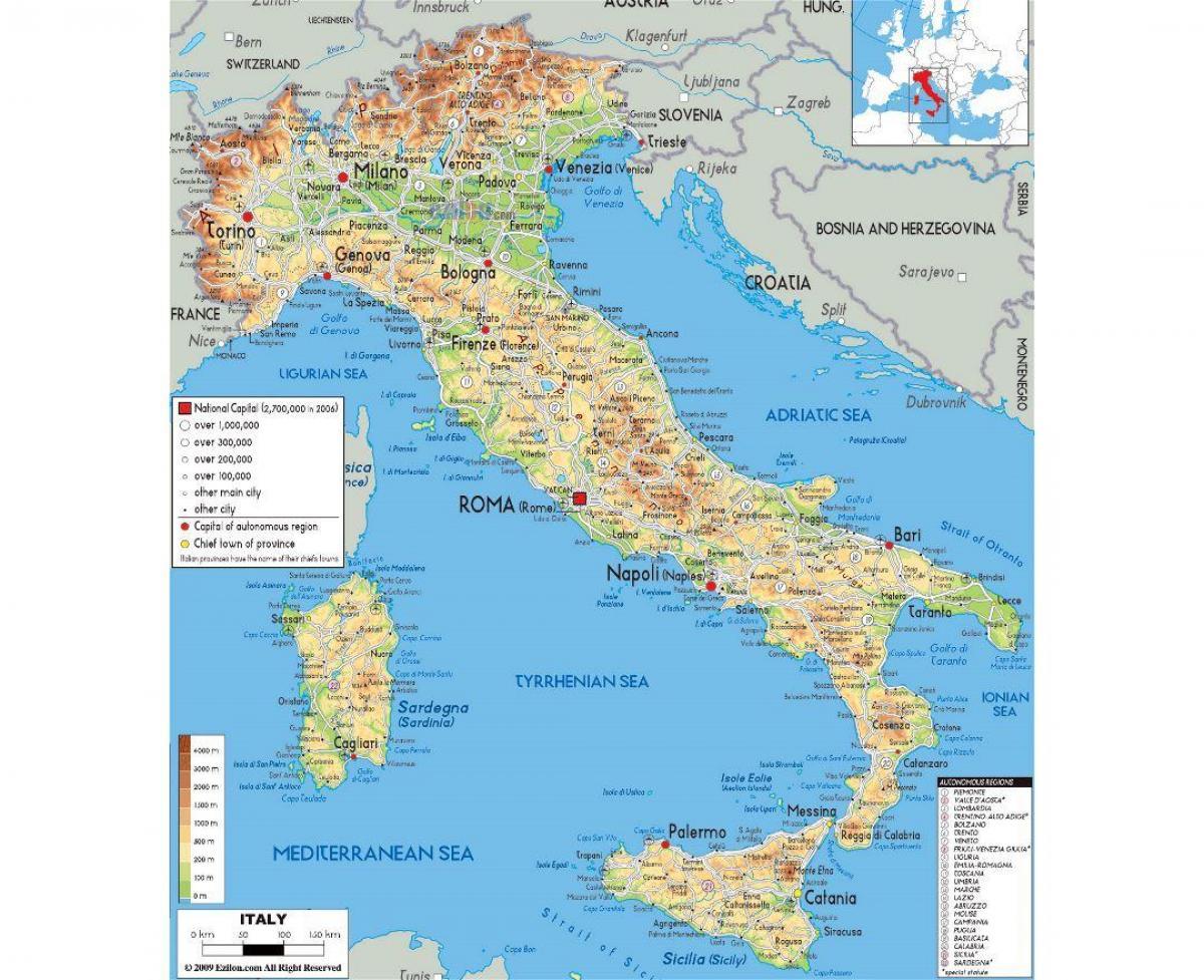 Fizyczna Mapa Rzymu Mapy Fizycznej Rzym Lacjum Wlochy